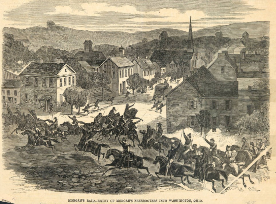 """Entry of Morgan's Raiders into Washington, Ohio,"" from Harper's Weekly, August 15, 1863, via Ohio Memory."