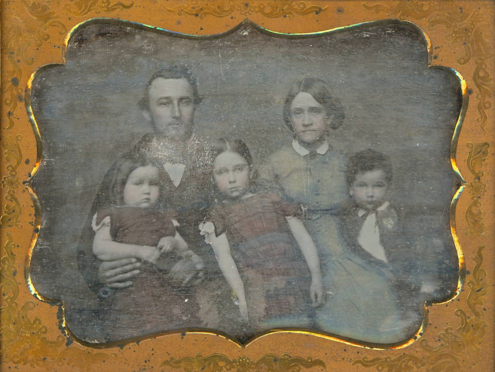 Daguerreotype showing an unknown family in 1855, via Ohio Memory.
