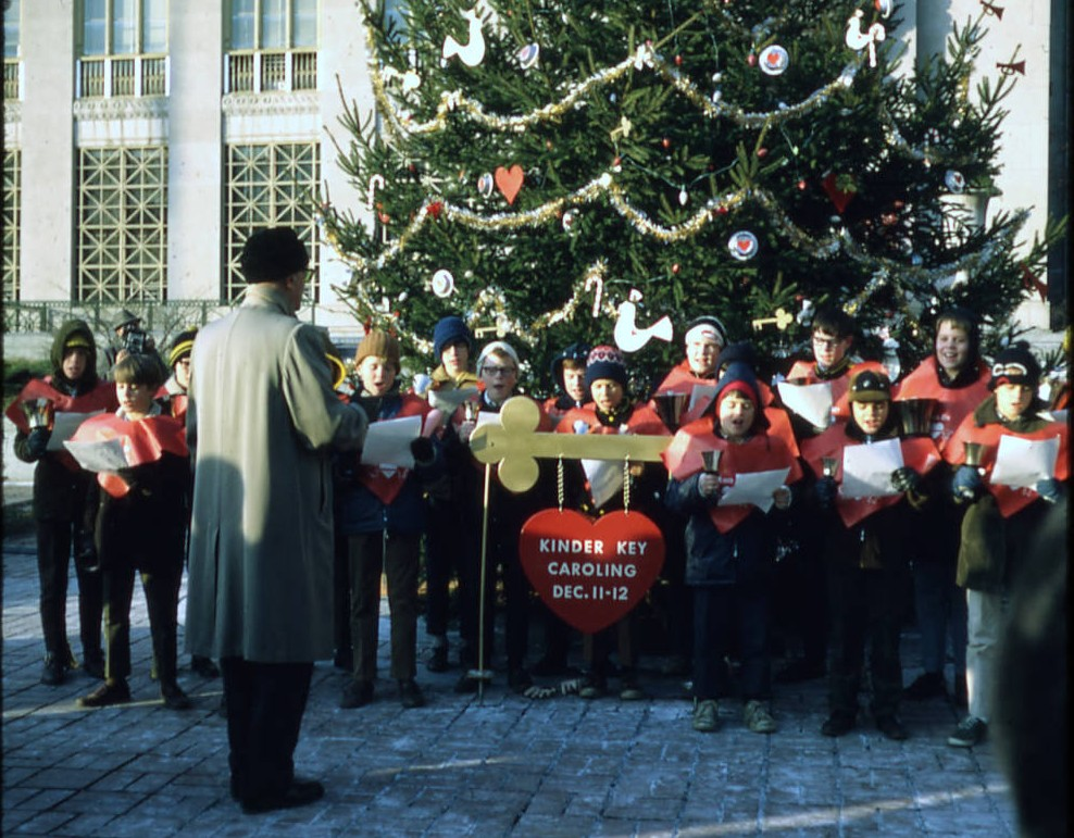 Kinder Key carolers and bell ringers in front of Columbus City Hall, 1969. Via Ohio Memory