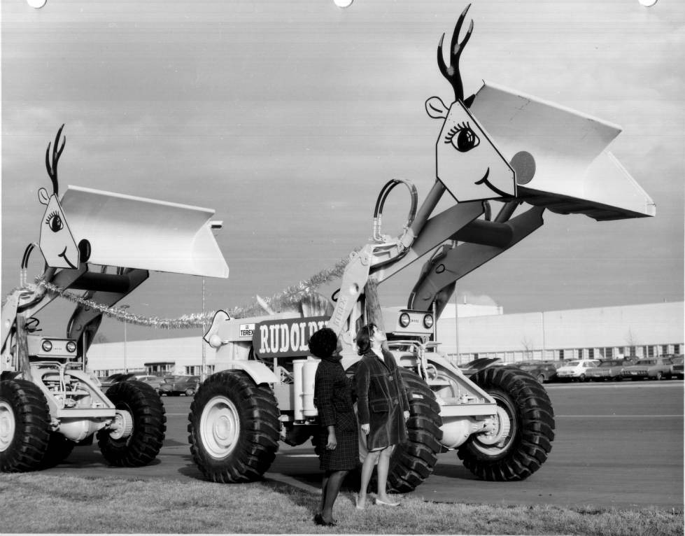 Terex earthmovers decorated as reindeer for Christmas, ca. 1965-1970. Courtesy of the Hudson Library and Historical Society via Ohio Memory.