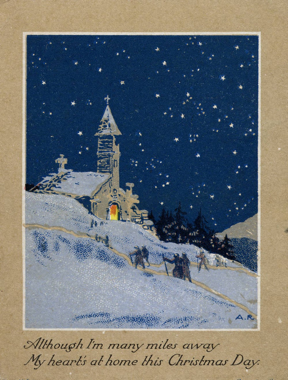 Christmas card sent by Lloyd B. Mignerey to his family on November 22, 1918. Courtesy of Otterbein College via Ohio Memory.