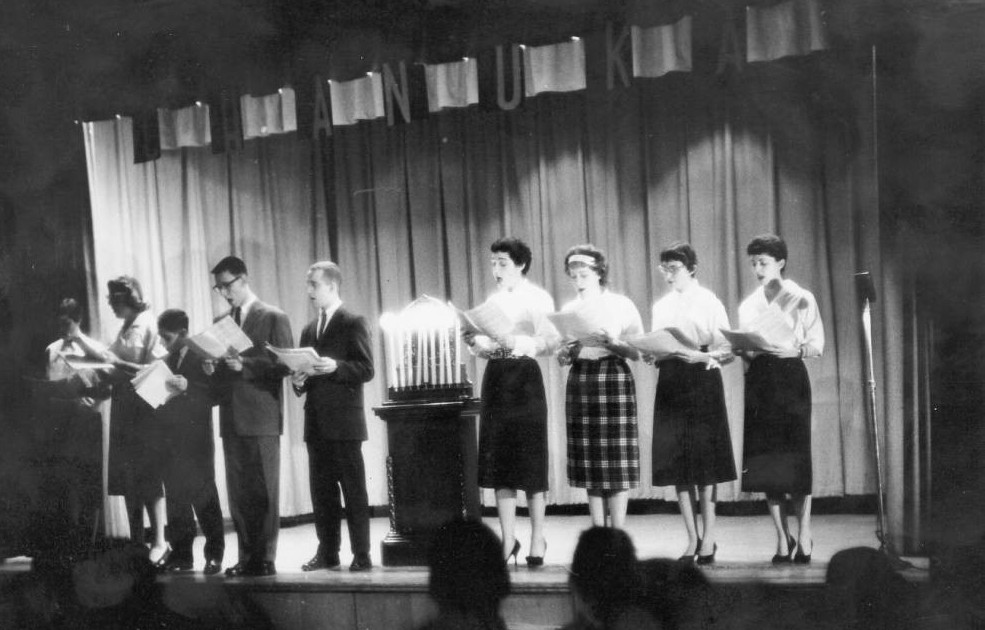 Student choir of the B' Nai B' Rith Hillel Foundation at Ohio State University performing for Hanukkah, 1958, via Ohio Memory