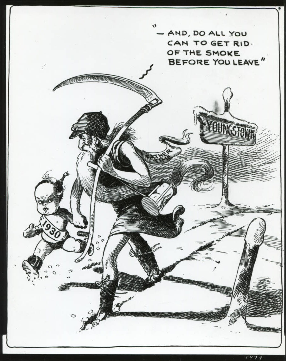 Editorial cartoon courtesy of the Youngstown Historical Center of Industry and Labor via Ohio Memory.