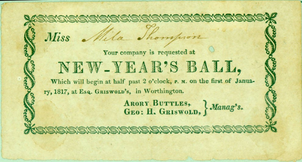 new years ball invitation 1817 courtesy of the worthington historical society via ohio memory