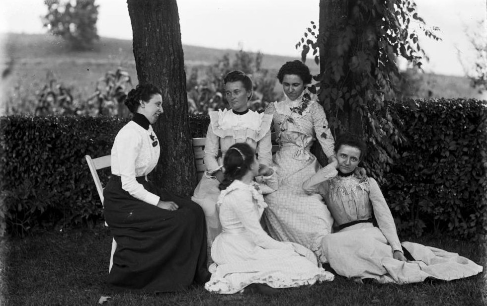 Portrait of five unidentified women seated outdoors, from the Albert J. Ewing Collection via Ohio Memory