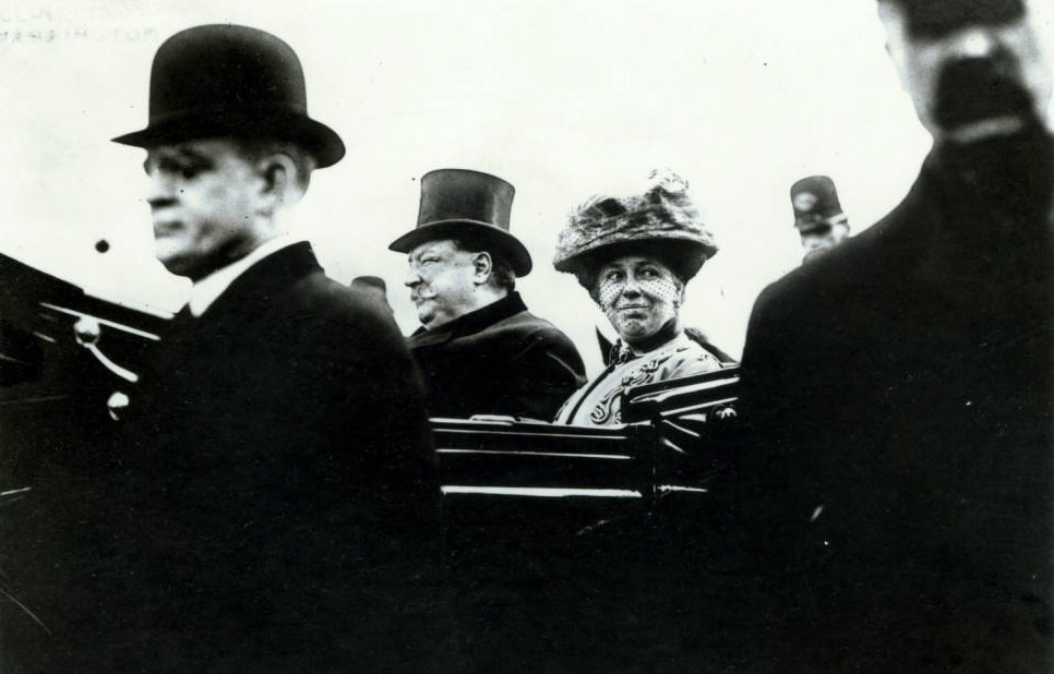 William Howard Taft and Helen Herron Taft during Taft's presidential inauguration parade. Courtesy of theWilliam Howard Taft National Historic Site via Ohio Memory
