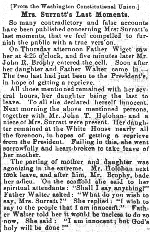 """""""Mrs. Surratt's Last Moments,"""" from the July 22, 1865 edition of the Democratic Banner, via Ohio Memory."""