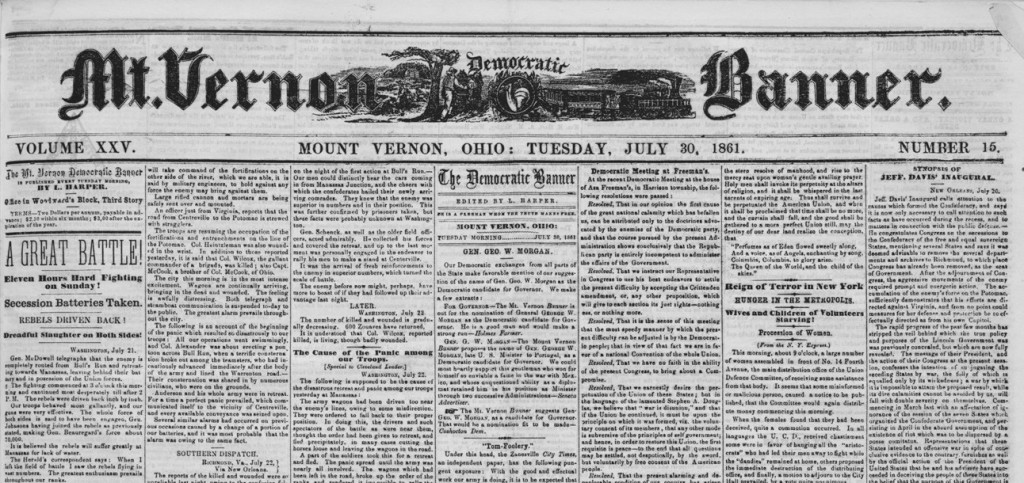 Front page of the Democratic Banner, July 30, 1861, via Ohio Memory