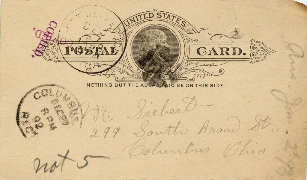 I.H. Hambleton postal card to Siebert, December 27, 1892. Via the Siebert Collection