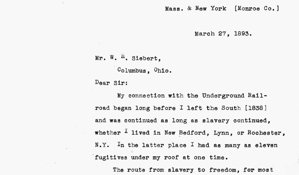 Letter from Douglass in reply to Siebert's UGRR questionnaire.