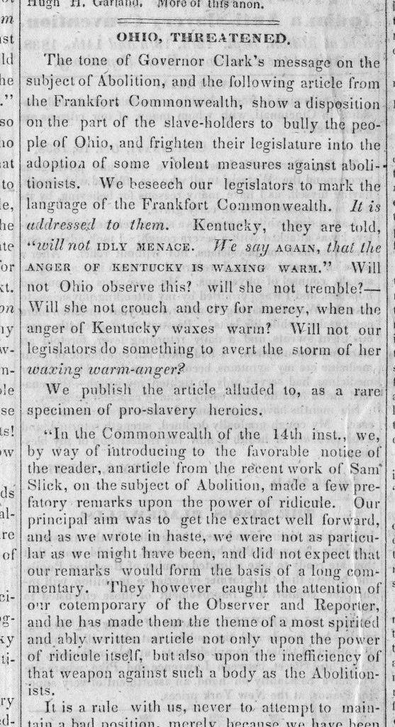 "Sarcastic commentary on ""pro-slavery heroics"" out of Kentucky, from page 3 of the Philanthropist"