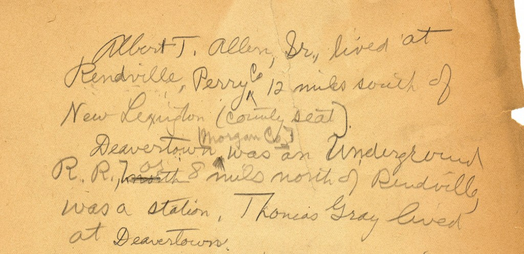 General notes kept by Siebert regarding UGRR names and locations, undated. Via Ohio Memory