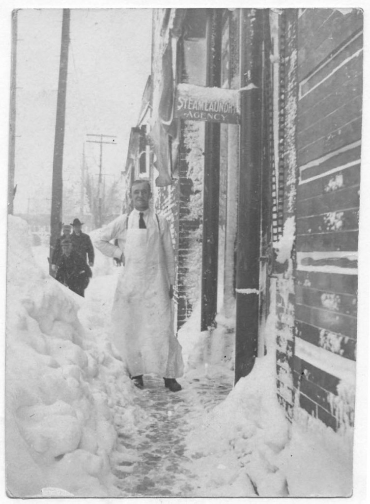 Sidewalk drifts during the snowstorm of 1913. Courtesy of the Amherst Public Library via Ohio Memory