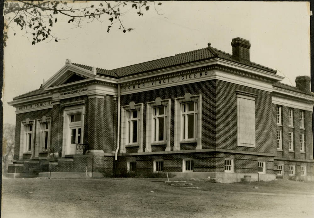 Carnegie Library located on the Old Wilberforce University Campus, built in 1909 with matching funds from the Carnegie Foundation. Courtesy of the National Afro-American Museum and Cultural Center via Ohio Memory