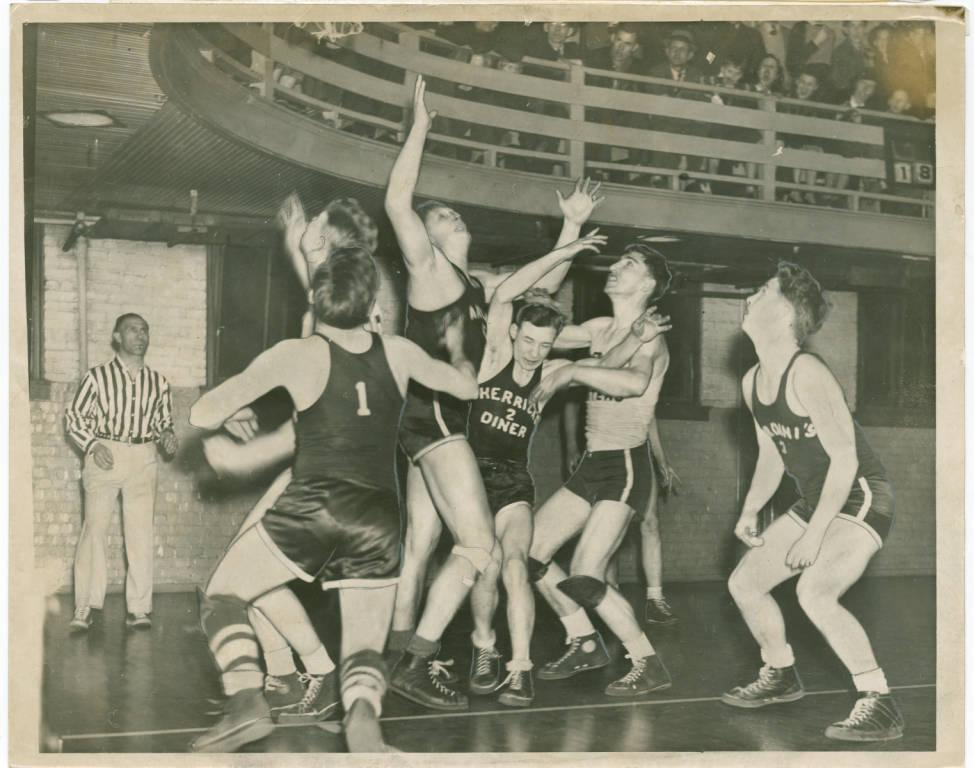 YMCA basketball game in Akron, from the Ohio Guide Collection via Ohio Memory