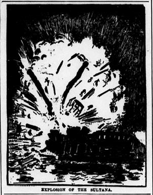 """Explosion of the Sultana."" Source: Chicago Eagle, March 26, 1898, Page 6 (via Chronicling America)"
