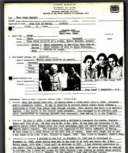 Biographical information for Holocaust survivor Thea Lange Speigel, courtesy of the State Library of Ohio Rare Books Collection via Ohio Memory