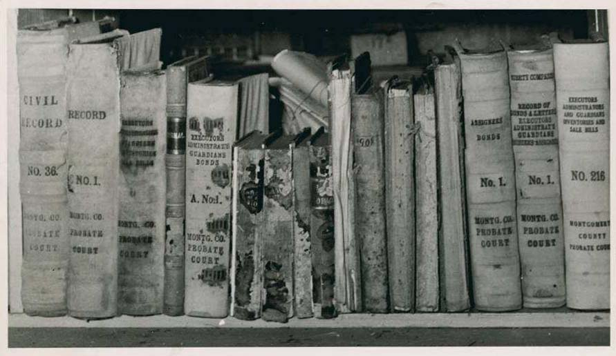 Damaged records in Montgomery County, ca. 1940. From the Ohio Guide Collection on Ohio Memory