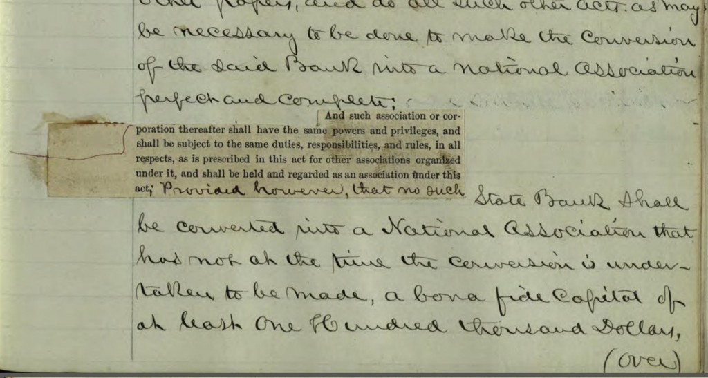 "Sherman's notes on ""An Act to Provide a National Currency Secured by a Pledge of United States Stocks, and to Provide for the Circulation and Redemption Thereof,"" ca. 1863. Courtesy of the John Sherman Manuscript Collection via Ohio Memory."