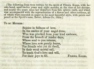 A message from Filenia Koons (deceased) to her mother