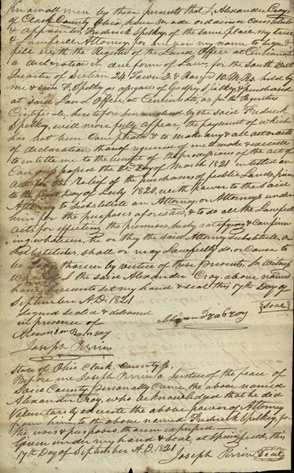 Power of Attorney for Alexander Cray, from the Cincinnati Federal Land Records on Ohio Memory