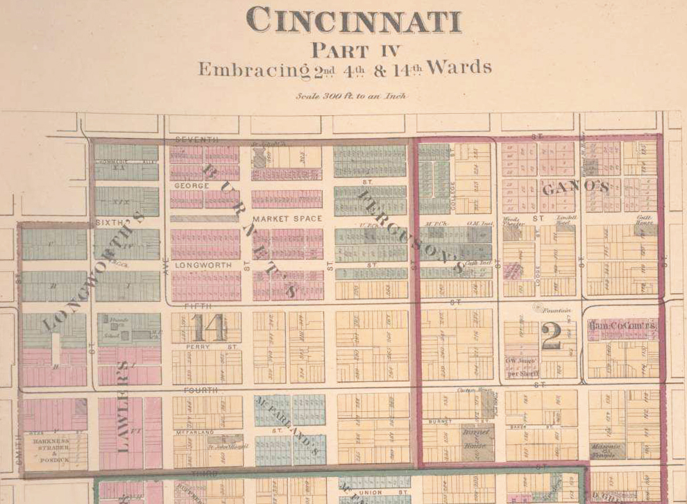 Map of downtown Cincinnati in 1869, via Ohio Memory