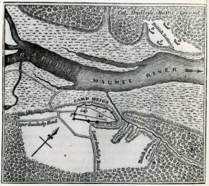 Sketch of the plan of Fort Meigs (identified here as Camp Meigs) created by Joseph Larwill, 1813. Via Ohio Memory