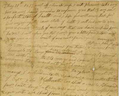 Letter written by WIlliam Johnson to his wife describing the actions of his regiment on May 5 during the Seige of Fort Meigs. Via Ohio Memory