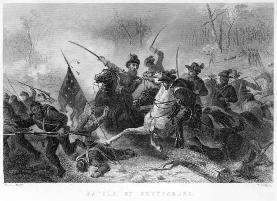 "Battle of Gettysburg from ""The Pictorial History of the Great Civil War,"" 1878, via Ohio Memory"