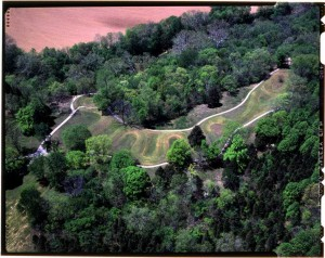 Aerial view of Serpent Mound in Adams County, via Ohio Memory