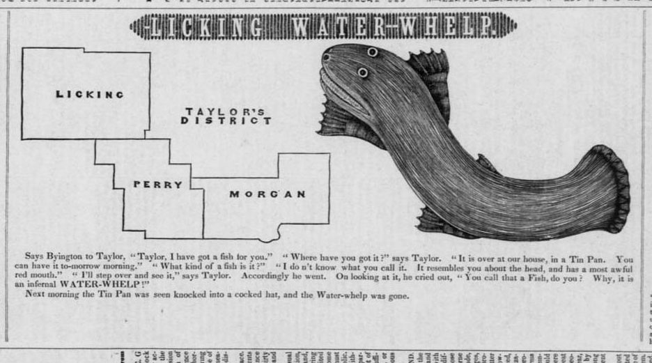 "Illustration of the ""Licking Water-Whelp,"" from the Ohio State Journal, September 14, 1842."