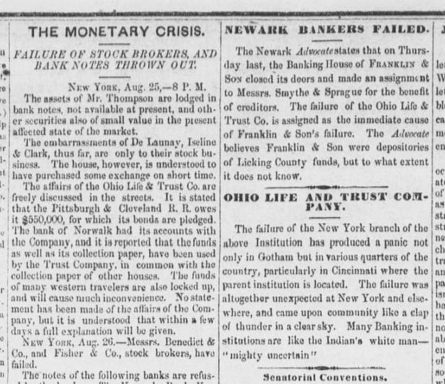 """Series of """"Mt. Vernon Republican"""" articles from one week after the failure of the Ohio Life and Trust Company, courtesy of the Civil War-Era Newspapers of Mount Vernon."""