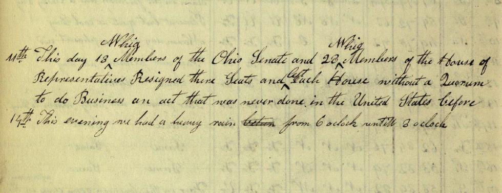 Notes on political events in Columbus from August 11, 1842, courtesy of the State Library of Ohio via Ohio Memory