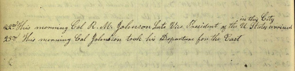 Notes about Richard M. Johnson's visit to Columbus, September 22, 1842.