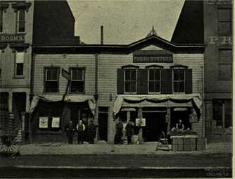 """Dispatch Corner"" at Gay and High Streets, 1889."