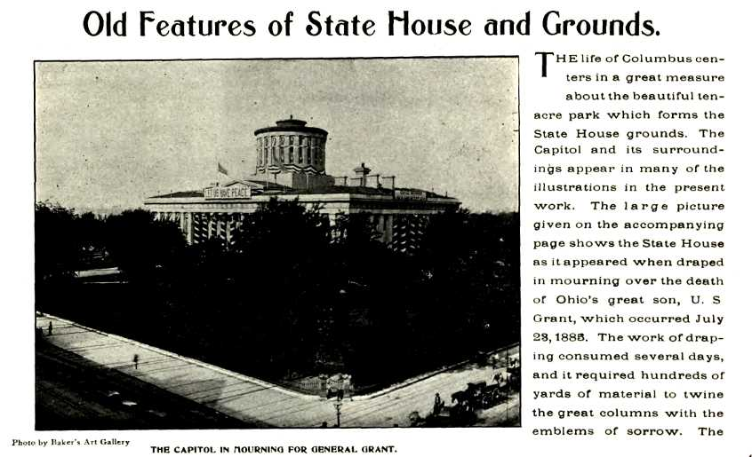 The Ohio Statehouse, draped in mourning for Ulysses S. Grant, 1885.