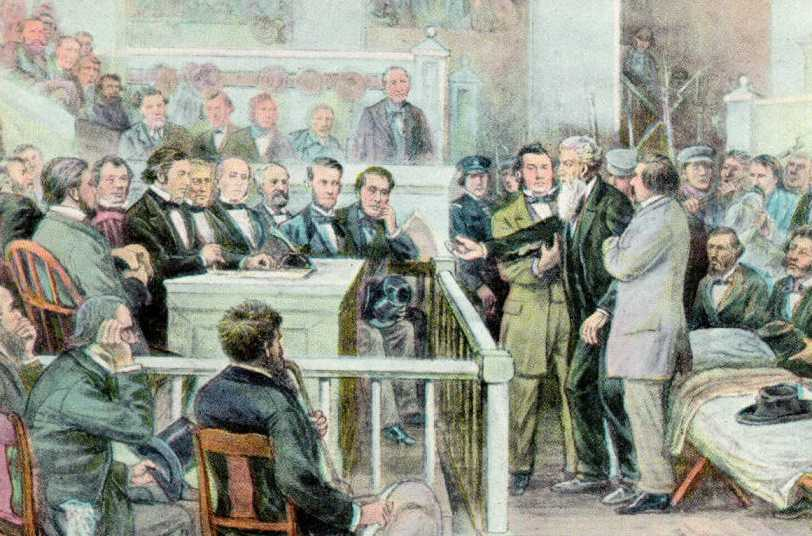 John Brown being arraigned before Judge Richard Parker in 1859, via Ohio Memory.