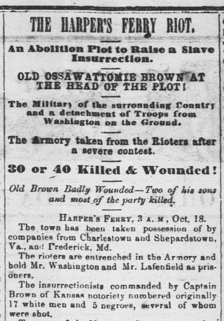 From the Mt. Vernon Democratic Banner, October 25, 1859.