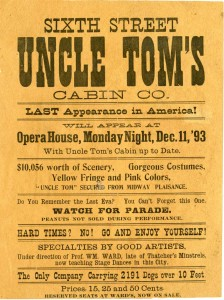 "Playbill for a showing of ""Uncle Tom's Cabin,"" December 11, 1893. Via the National Afro-American Museum and Cultural Center on Ohio Memory."