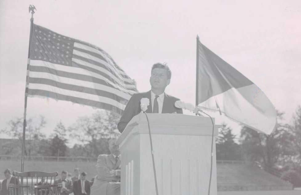 Then-Senator John F. Kennedy speaking at Miami University in 1959, courtesy of the Miami University Archives on Ohio Memory.