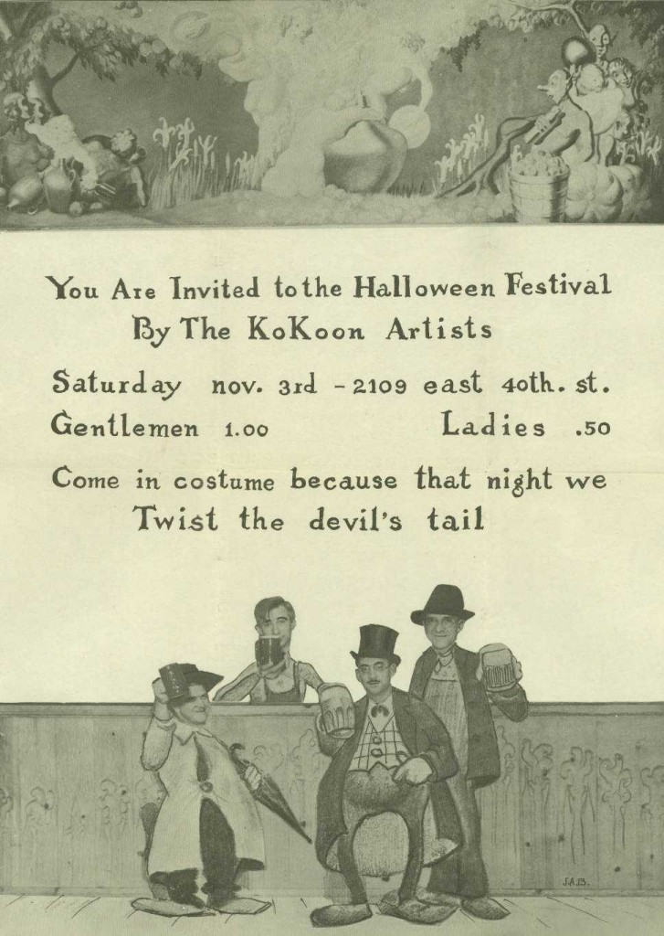 Halloween invitation, ca. 1934. Courtesy of the Kent State University Kokoon Arts Club Papers via Ohio Memory.