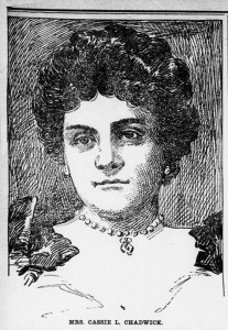 Drawing of Cassie Chadwick published in the Barbour County Index on January 4, 1905. Via Chronicling America.
