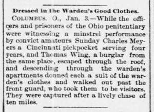 Prison escape as reported in the Rock Island (Illinois) Daily Argus, January 3, 1893. Via Chronicling America.