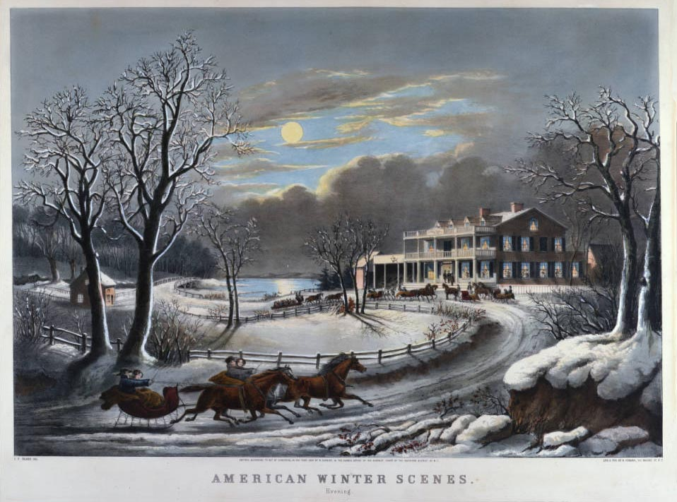 Currier & Ives print showing sleighs arriving to a wintertime party, 1854. Via Ohio Memory.