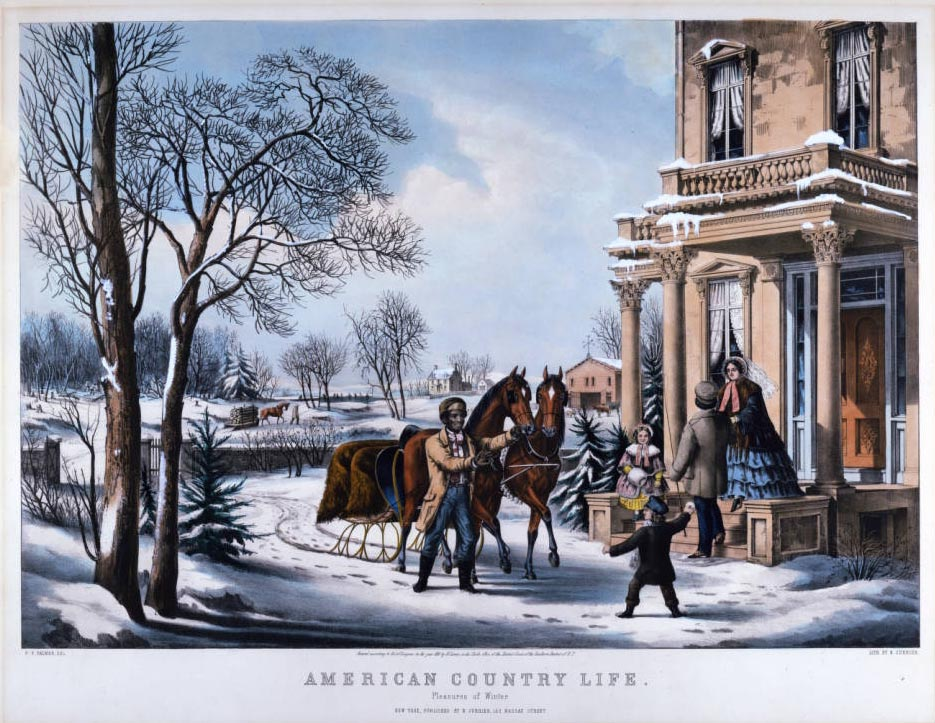 """""""Pleasures of Winter"""" from the """"American Country Life"""" series, via Ohio Memory."""