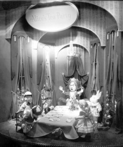 """Alice's Tea Party"" window display, ca. 1950, via Ohio Memory."