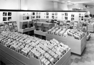Record department on the fifth floor at Lazarus, ca. 1950-1959. Via Ohio Memory.