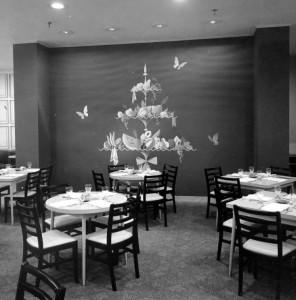 Dining area at the Chintz Room, Lazarus' fifth floor restaurant, in 1953. Via Ohio Memory.