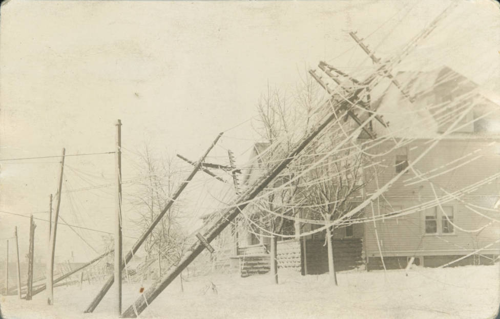 "Snowstorm damage in Northeast Ohio following the ""Great Lakes Hurricane"" of November 1913. Via Ohio Memory."