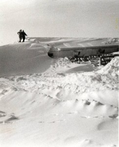 Drifted snow near an outbuilding at the Forest Loudenslager farm in Marion, Ohio. Courtesy of the Marion County Historical Society via Ohio Memory.
